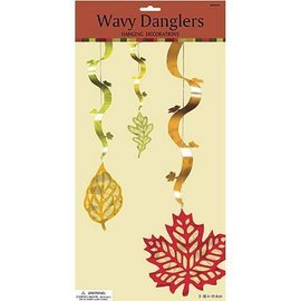 Danglers-String Decor- Autumn Leaf Wavy-3pk