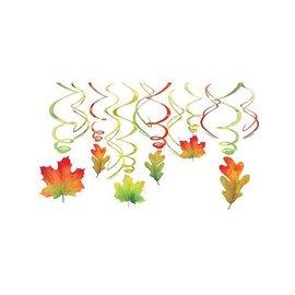 Danglers-Swirl Decor-Fall Color Leaves-12pk