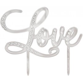 Cake Topper- Love-Electroplated Plastic-w/Gems-5.2'' x 5''