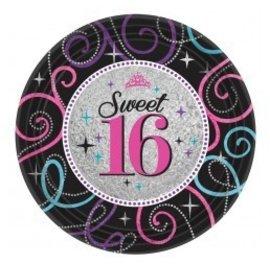 Plates- BEV- Sweet 16 Celebration-8pk-Paper - Discontinued