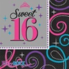 Napkins- BEV- Sweet 16 Celebration-16pk-2ply - Discontinued