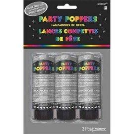 Confetti Poppers-Silver-3pk/4''