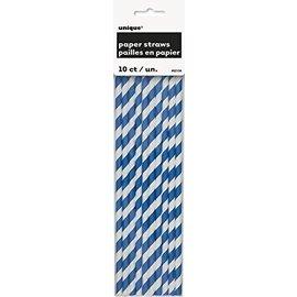 Paper Straws-Royal Blue Stripe-8.25''-10pk