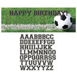 Party Banner-Plastic-Customizable-Soccer Fanatic-1pkg
