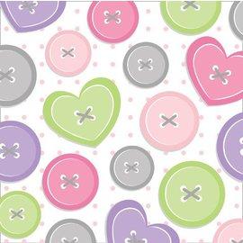 Napkins-BEV-Cute as a Button Girl-16pkg-3ply - Final Sale