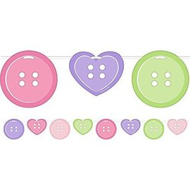 Banner-Ribbon-Cute as a Button Girl-1pkg-6ft