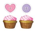 Cupcake Toppers-Cute as a Button Girl-12pkg