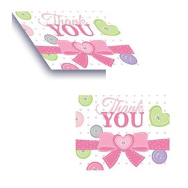 Thank You Cards-Cute as a Button Girl-8pkg