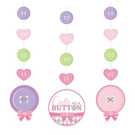 Hanging Cutouts-Cute as a Button Girl-3pkg-36""