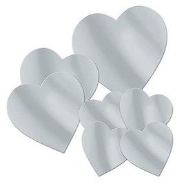 """Cutouts-Foil-Silver Hearts-7pkg-4""""-12"""""""