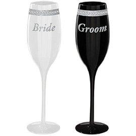 Toasting Glasses-Bride & Groom Set-7.5oz-2pk
