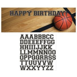 Party Banner-Plastic-Customizable-Basketball-1pkg