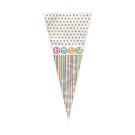 """Cone Gift Bags- Baby Dots- 20pcs (15""""x6.5"""")"""