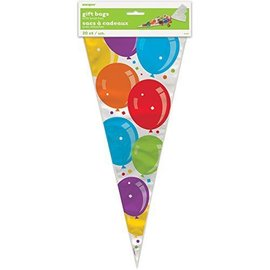 """Cone Gift Bags- Colorful Birthday Balloons- 20pcs (15""""x6.75"""")"""