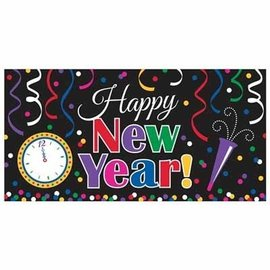 Banner-Large-Jewel Tone-Happy New Year-Plastic