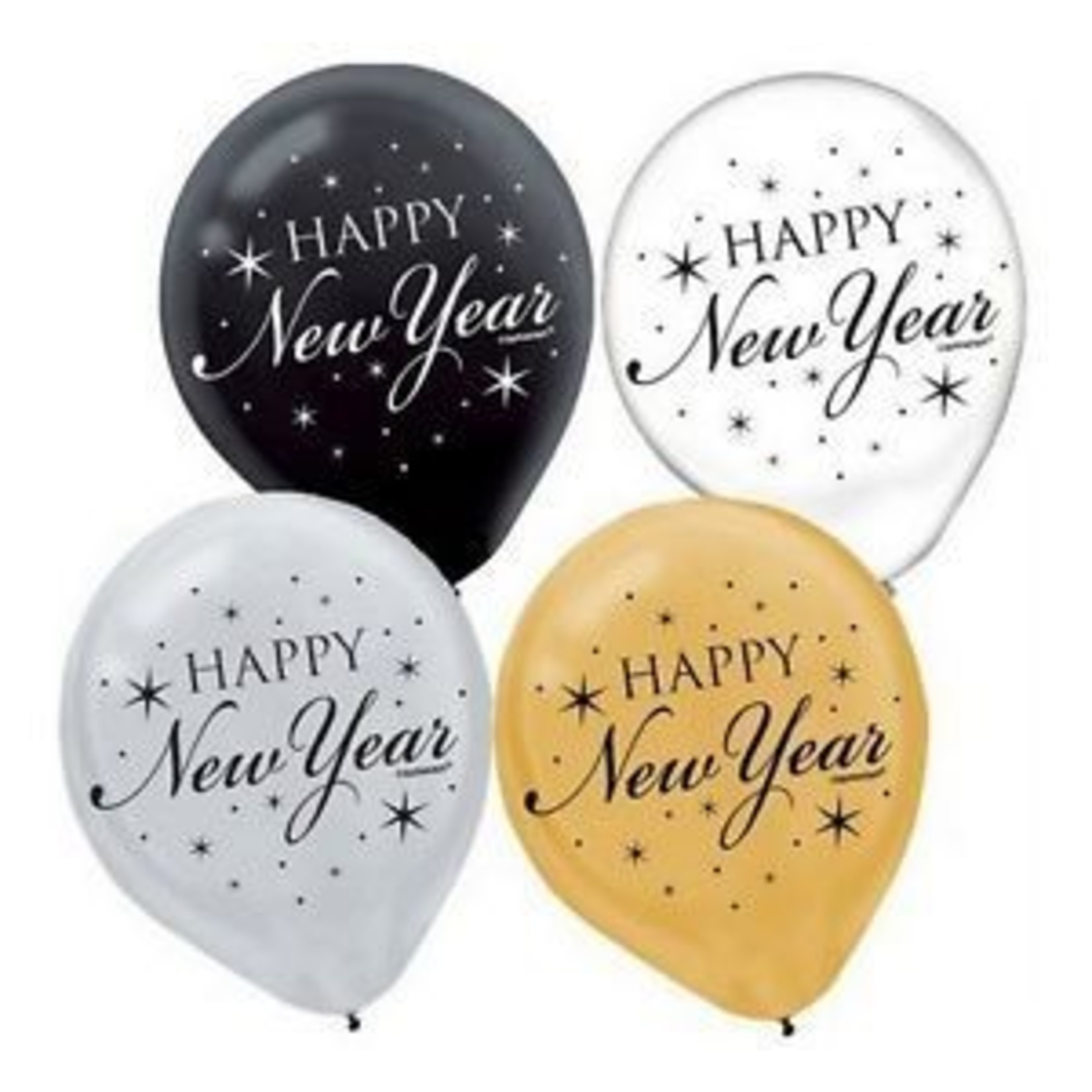 Balloon - Latex - New Year - gold/blk/clear - 15pkg