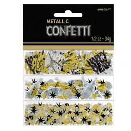 Confetti - Happy New Year - Black, Silver & Gold - 0.5oz