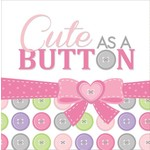 Napkins-LN-Cute as a Button Girl-16pkg-3ply - Final Sale