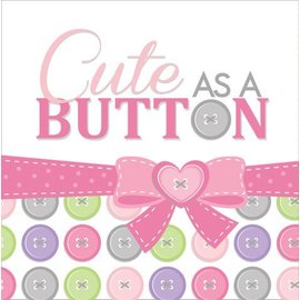 Napkins-LN-Cute as a Button Girl-16pkg-3ply - Final Sale