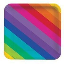"Beverage Paper Plates- Rainbow- 8pk/7""- Discontinued"