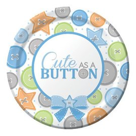 Beverage Plates-Cute as a Button Boy-8pkg-Paper - Final Sale