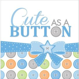 Luncheon Napkins-Cute as a Button Boy-16pkg-3ply - Final Sale