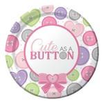 Plates-BEV-Cute as a Button Girl-8pkg-Paper - Discontinued