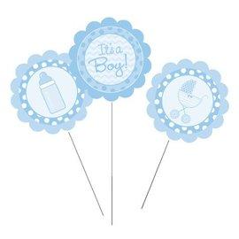 """Centerpiece Sticks-Plastic-It's A Boy Blue-3pkg-9.5""""-12"""""""