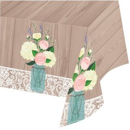 Tablecover-Rectangle-Rustic Wedding-54''x102''-Plastic (Discontinued)