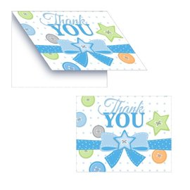 Thank You Cards-Cute as a Button Boy-8pkg