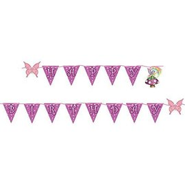 Flag Banner-Plastic-Fancy Fairy Birthday-1pkg-6ft