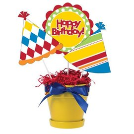 "Centerpiece Sticks-Plastic-Birthday Kraft-3pkg-15"""