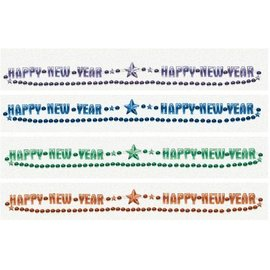 Bead Necklace-Happy New Year-Jewel Tone Beads-32''