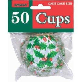 Cupcake Wrap-Christmas-Holly-50pk