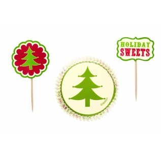 Baking Cups & Picks-Christmas Tree-24pkg