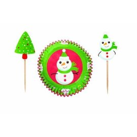 Baking Cups & Picks-Christmas Snowman-24pkg
