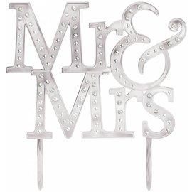 Cake Topper-Silver Metal-Mr an Mrs.
