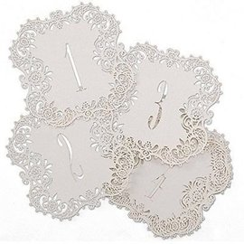 "Laser Cut Table Number Cards- White #1-10- 10pk (5.5""x5.5"")"
