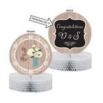 "Centerpiece-Honeycomb-Mr. & Mrs. Rustic Wedding-1pkg-10"""