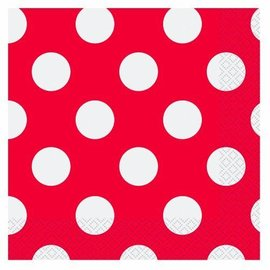 Luncheon Napkins-Ruby Red Dots