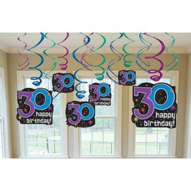 Danglers-Swirl Decoration-30th HBD-12pk