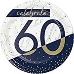 """Plates - Bev - Navy & Gold Milestone 60 - 7"""" - 8PK"""