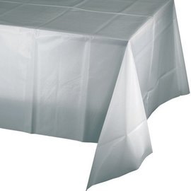 """Tablecover-Rectangle-Shimmering Silver-Plastic-54""""x108"""""""