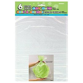 """Extra Large Gift Bags- Clear- 6pcs (20""""x16"""")"""