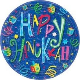 Plates-BEV-Happy Hanukkah-8pkg-Paper