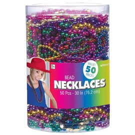 Beads Necklace -Jewel Tone-50pk/30''