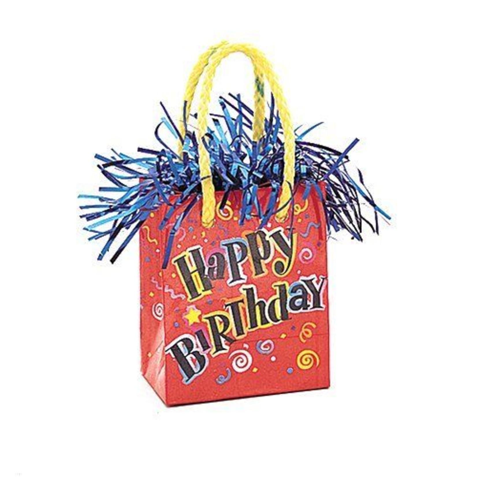 "Balloon Bag Weight-Happy Birthday-1pkg-3.25""x2.5"""