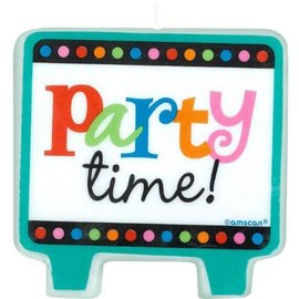 Birthday candle - cndl flat mld party time-2.5''