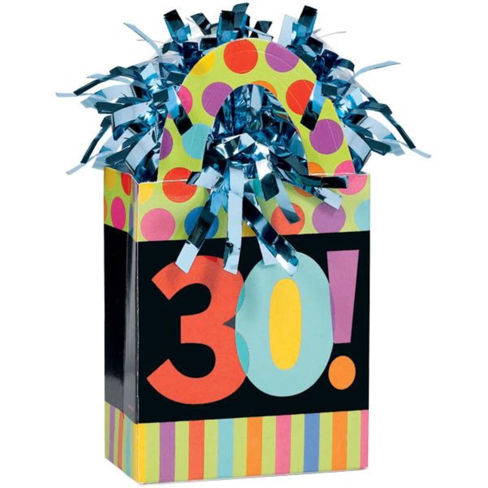 Balloon Weight-Dots & Stripes 30th Bday-5.7oz