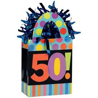 Balloon Weight-Dots & Stripes 50th Bday-5.7oz